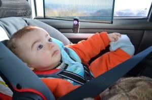 Felipe, com 6 meses, em sua primeira longa viagem de carro