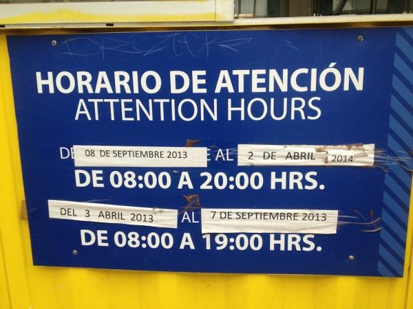 Horário de atendimento da aduana chilena