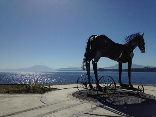 Escultura Caballo de Troya (Cavalo de Tróia), feita pelo artista plástico e escultor Oscar Paredes