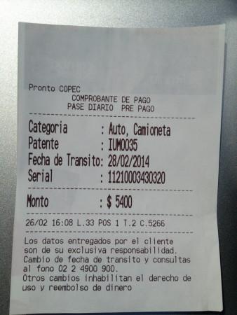 Pase Diário Único (PDU) necessário devido a cobrança automatizada de pedágios nas autopistas de Santiago/Chile