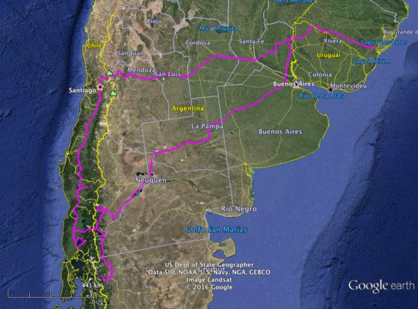 Roteiro da viagem 2014 pela Brasil, Chile, Argentina e Uruguai