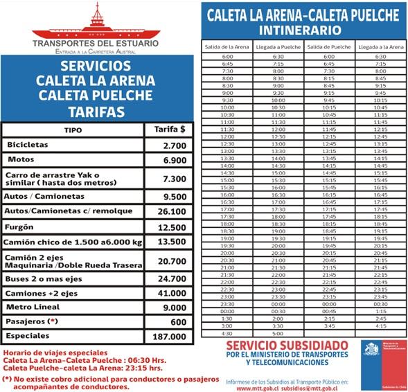Travessia Estuario Reloncavi: preços e horários março/2017 (consulte o site oficial para obter informações atualizadas)