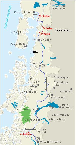 Mapa que mostra a localização das balsas da Carretera Austral